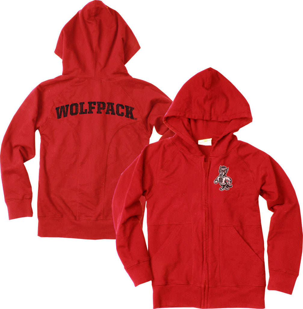 NC State Wolfpack Toddler & Youth Girls Red Full Zip Jacket
