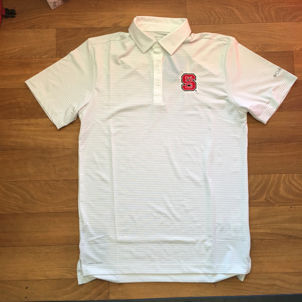 NC State Wolfpack Columbia Men's White Omni-Wick Sunday Golf Polo