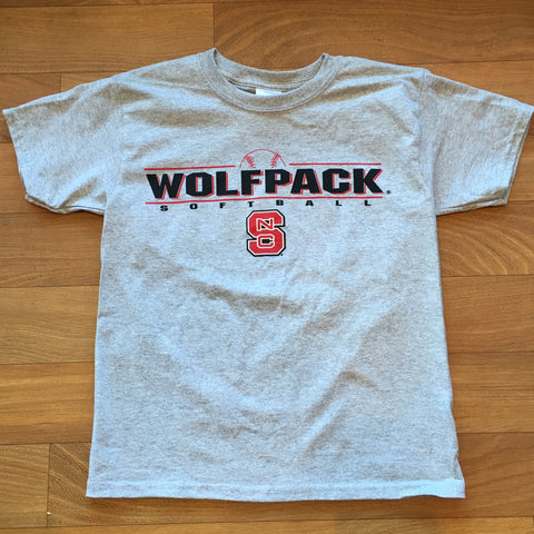 NC State Wolfpack Grey Wolfpack Softball Youth T-Shirt