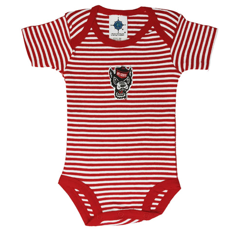 NC State Wolfpack Infant Red and White Striped Wolfhead Onesie
