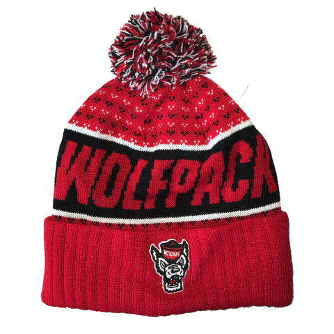 NC State Wolfpack TOW Red Expanse Cuffed Knit Beanie w/Pom