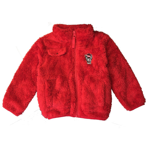 NC State Wolfpack Toddler Red Joel Wolfhead Sherpa Full Zip Jacket