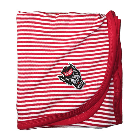NC State Wolfpack Red and White Striped Wolfhead Baby Blanket