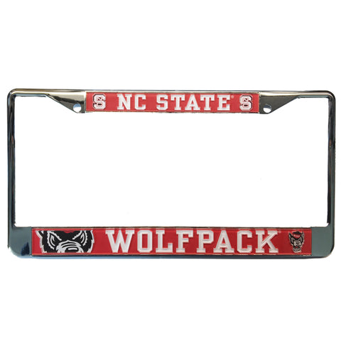 NC State Wolfpack Red Mega Domed Wolfhead License Plate Frame