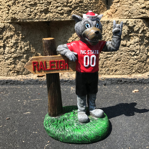 NC State Wolfpack Oxbay Mascot with Sign Figurine