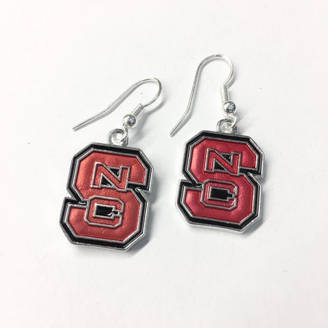 NC State Wolfpack FTH Red Block S Earrings