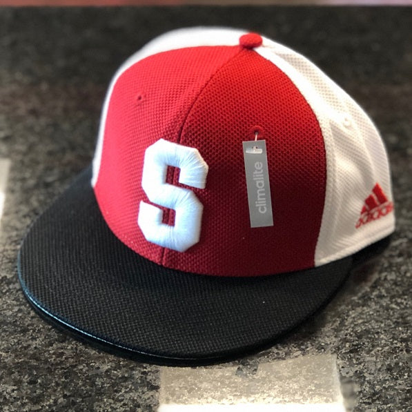 "NC State Wolfpack Adidas Tri Color ""On-Field"" Mesh Old Block S Throwback Performance Baseball Hat"