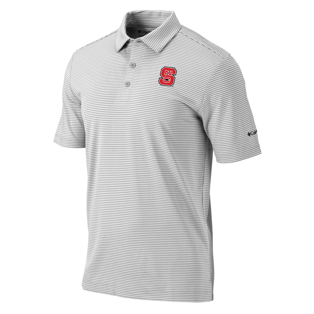 NC State Wolfpack Columbia Cool Grey Block S Omni-Wick One Swing Polo