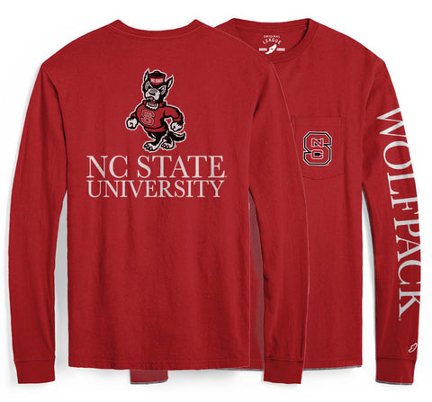 NC State Wolfpack Red Vintage Wash Red Block S Long Sleeve Pocket Tee