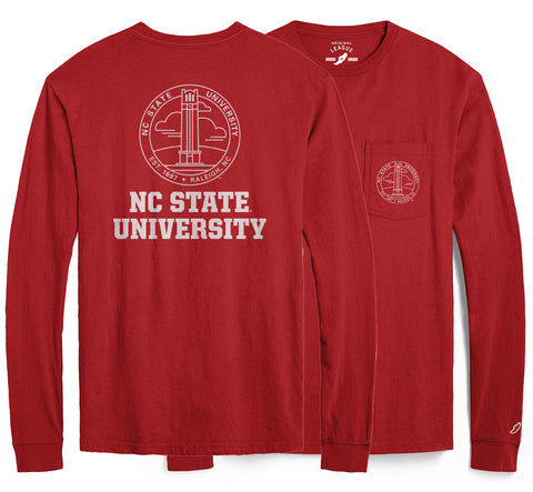 NC State Wolfpack Red Vintage Wash Hallmark Long Sleeve Pocket Tee