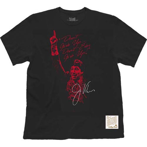 "NC State Wolfpack Black Jimmy V ""Don't Give Up"" Autograph Slub T-Shirt"