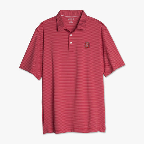 NC State Wolfpack Johnnie-O Red Albatross Striped Polo