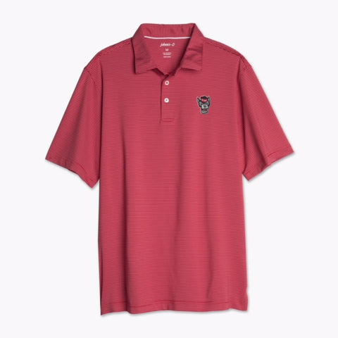 NC State Wolfpack Johnnie-O Red Wolfhead Albatross Striped Polo