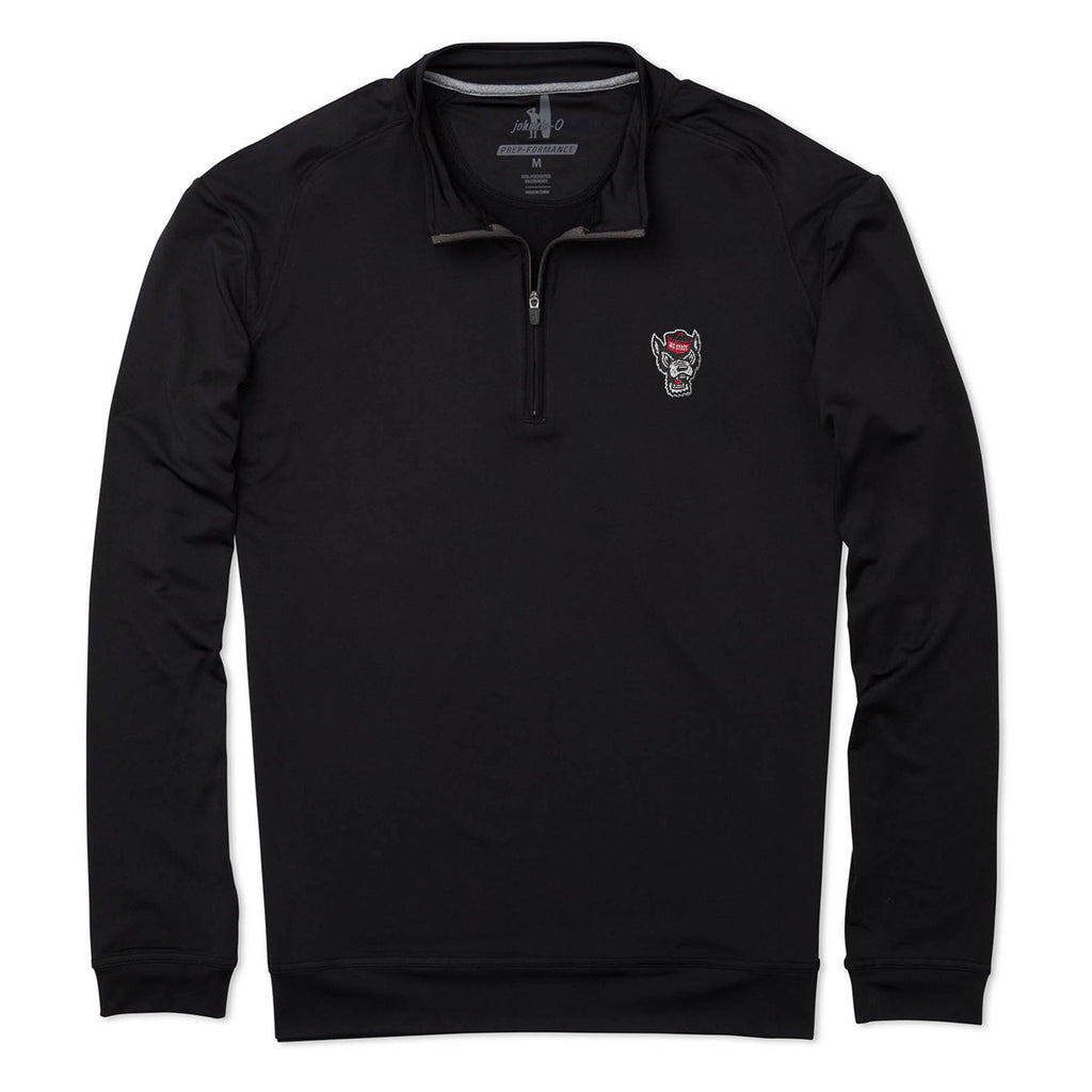 NC State Wolfpack Johnnie-O Black Wolfhead Flex Performance 1/4 Zip Pullover