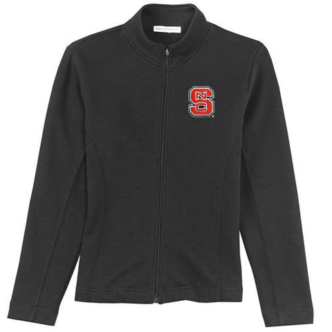 NC State Wolfpack Women's Black Flatback Rib Full-Zip Jacket