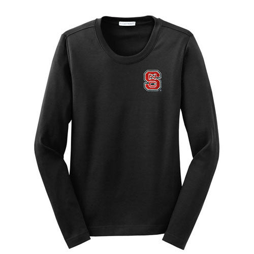 NC State Wolfpack Women's Black Modern Stretch Cotton Long Sleeve Scoop Neck Shirt