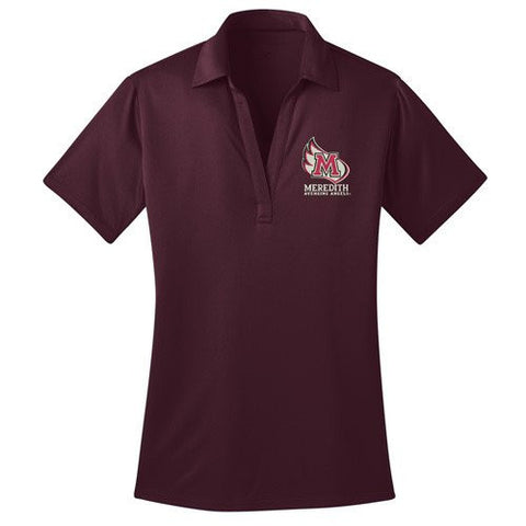 Meredith College Women's Maroon Ladies Silk Touch™ Performance Polo