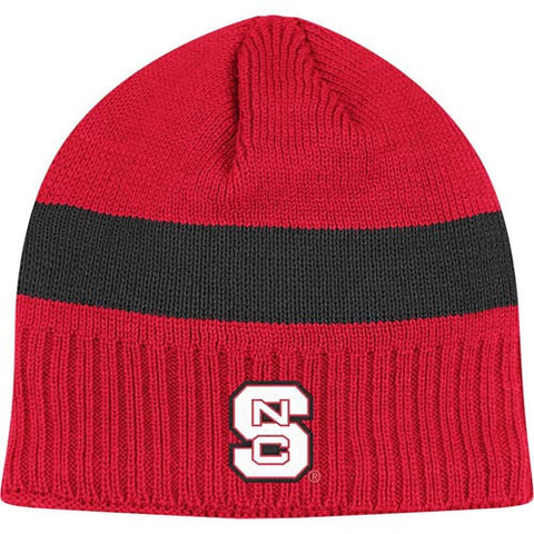 NC State Wolfpack adidas® Red w/ Black Stripe Cuffless Knit Beanie
