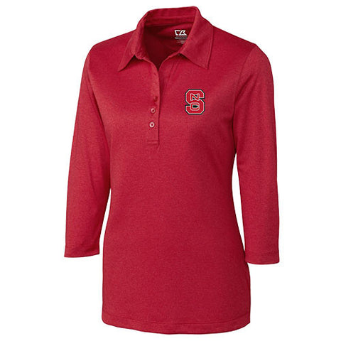 NC State Wolfpack Women's Red Drytec 3/4 Sleeve Chelan Polo