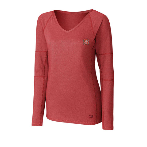 NC State Wolfpack Cutter & Buck Women's Red Victory V-Neck Long Sleeve T-Shirt