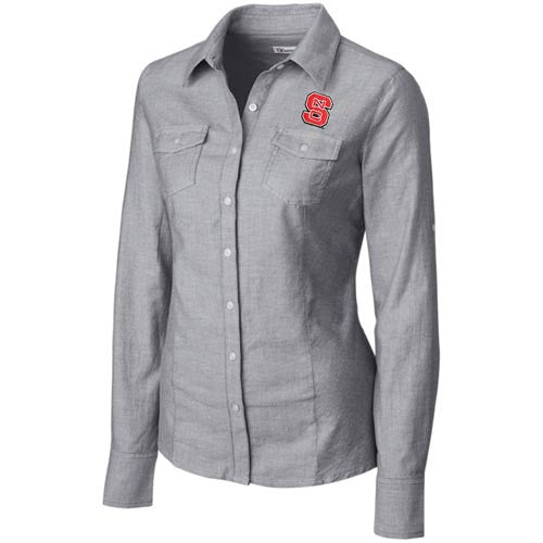 NC State Wolfpack Women's C&B Round Robin Oxford Long Sleeve Dress Shirt