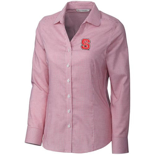 NC State Wolfpack Women's C&B Red/White Epic Easy Care Tattersall Dress Shirt
