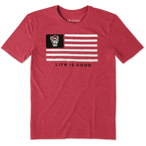 NC State Wolfpack Life Is Good Red Wolfhead Flag T-Shirt