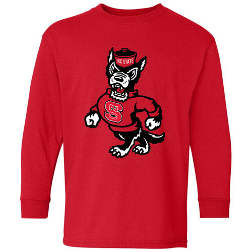 NC State Wolfpack Youth Red Strutting Wolf Long Sleeve T-Shirt