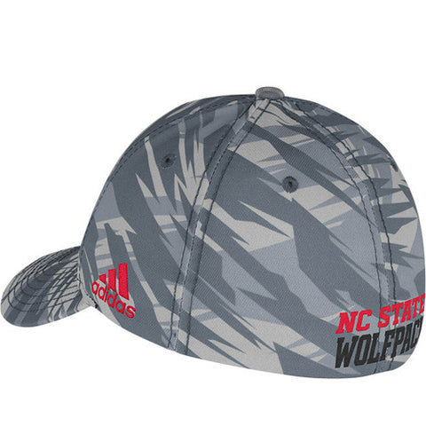 NC State Wolfpack adidas® Camo Football Sideline Flow Pro Shape Fitted Hat