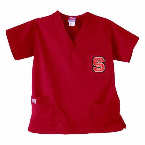 NC State Wolfpack Red 3-Pocket Scrub Top