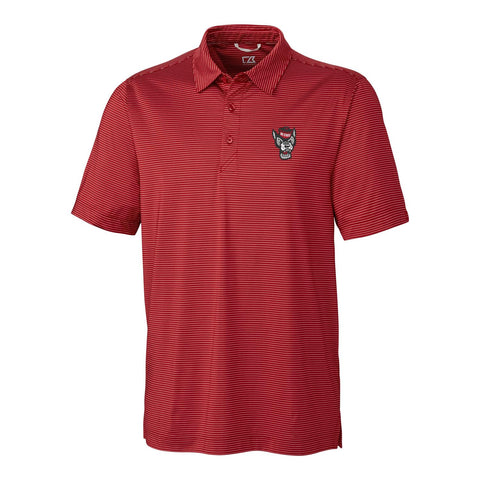 NC State Wolfpack Cutter & Buck Red Prevail Stripe Polo