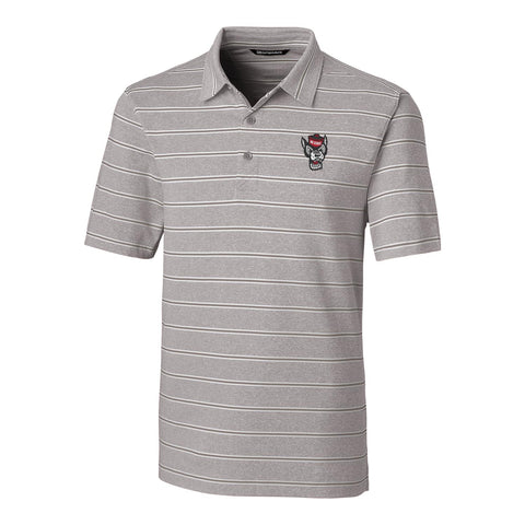 NC State Wolfpack Cutter & Buck Gray Wolfhead Striped Forge Polo
