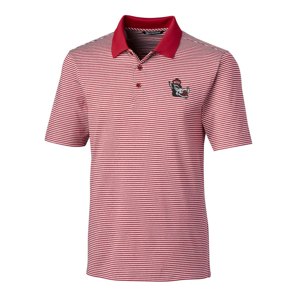 NC State Wolfpack Cutter & Buck Slobbering Wolf Forge Tonal Stripe Polo