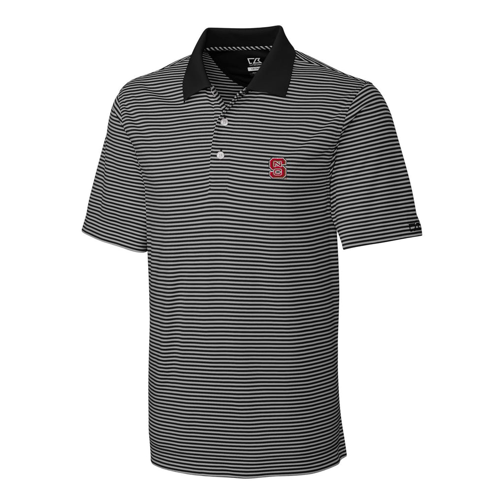 NC State Wolfpack Cutter & Buck Black and Grey Striped Trevor Polo
