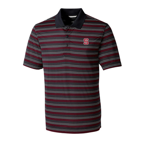 NC State Wolfpack Cutter & Buck Black and Red Striped Resolve Polo