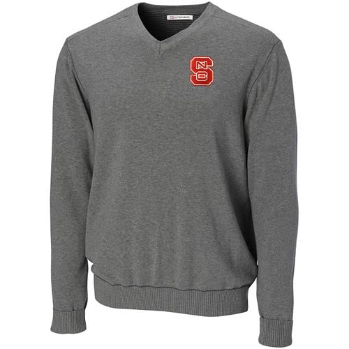NC State Wolfpack C&B Heather Grey Broadview V-Neck Sweater