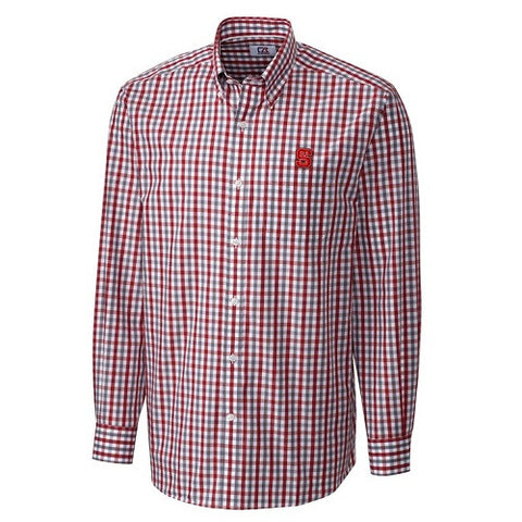 NC State Wolfpack C&B Cardinal Red Grant Plaid L/S Dress Shirt