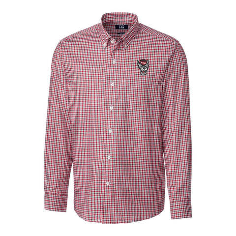 North Carolina State Wolfpack Cutter & Buck Lakewood Check Wolfhead Long Sleeve Dress Shirt