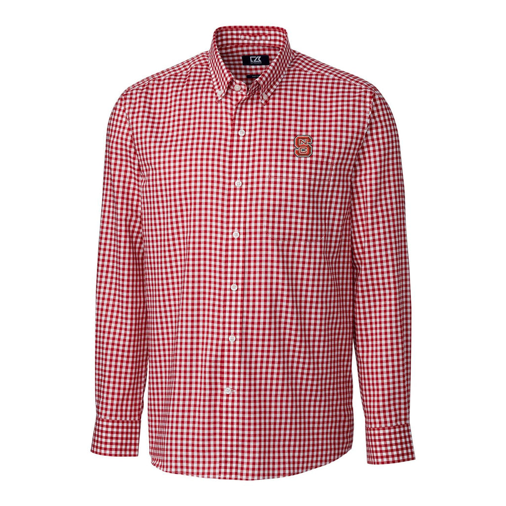 NC State Wolfpack Cutter & Buck League Gingham Long Sleeve Dress Shirt