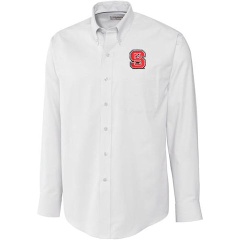 NC State Wolfpack C&B White Epic Easy Care Nailshead Long Sleeve Dress Shirt