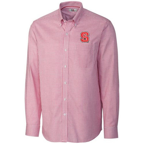 NC State Wolfpack C&B Red Epic Easy Care Tattersall Dress Shirt