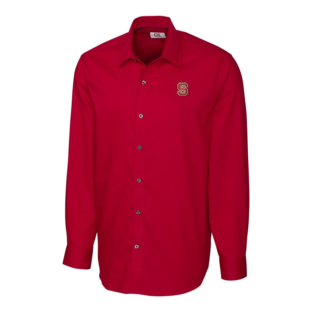 NC State Wolfpack Cutter & Buck Red Epic Easy Care Broken Twill Big and Tall Dress Shirt