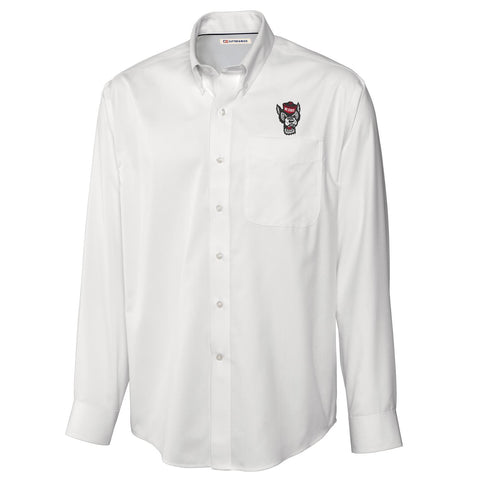 NC State Wolfpack Cutter & Buck White Epic Easy Care Fine Twill Wolfhead Dress Shirt
