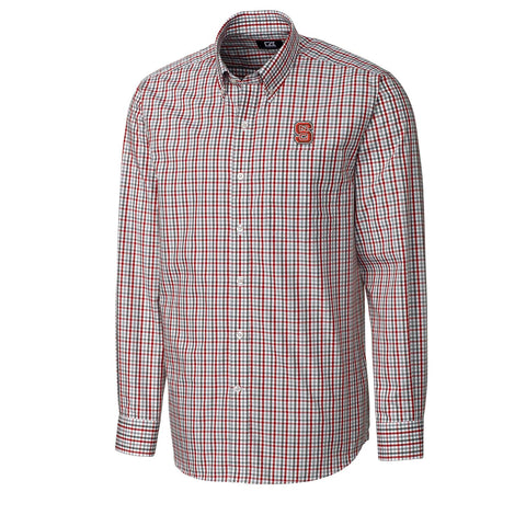 NC State Wolfpack Cutter & Buck Gilman Plaid Dress Shirt
