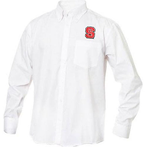 NC State Wolfpack White Carter Twill Long Sleeve Dress Shirt