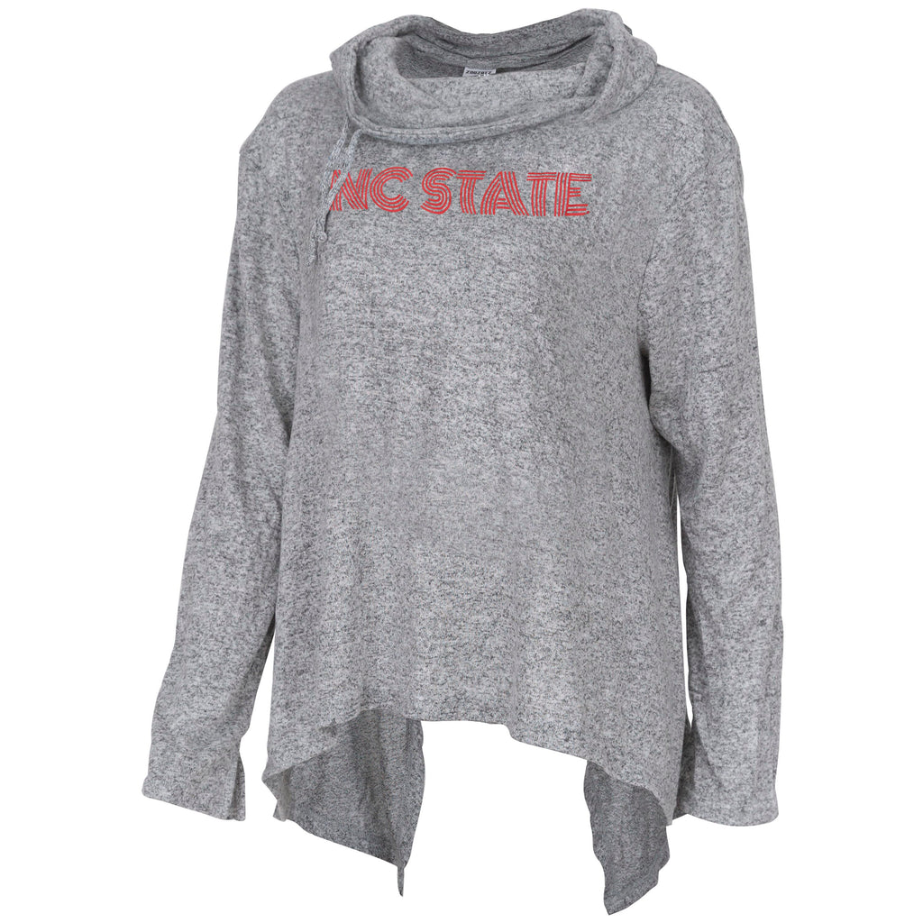 NC State Wolfpack Women's Heather Grey Stadium Slit Back Sweater