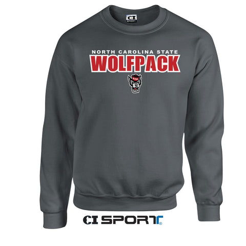 NC State Wolfpack Charcoal Heather Wolfhead Crewneck Sweatshirt