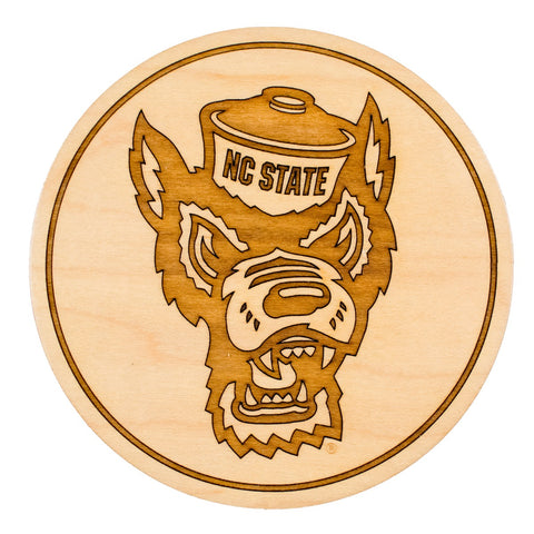 NC State Wolfpack Engraved Wolfhead Set of 4 Wood Coasters