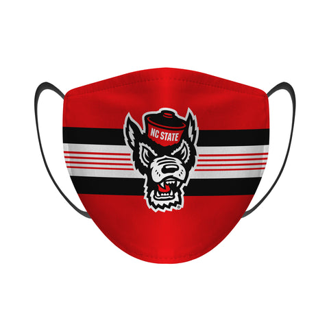 NC State Wolfpack Rock Em Red Wolfhead Stripes Face Mask