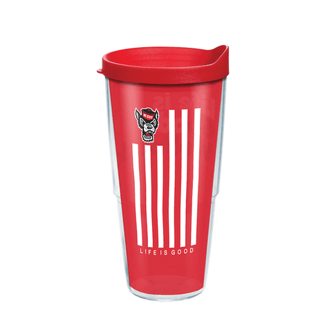 NC State Wolfpack 24oz Red Life Is Good Tervis Tumbler w/Lid